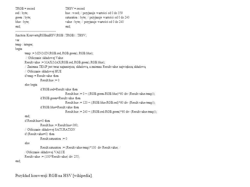 Przykład konwersji RGB na HSV [wikipedia].